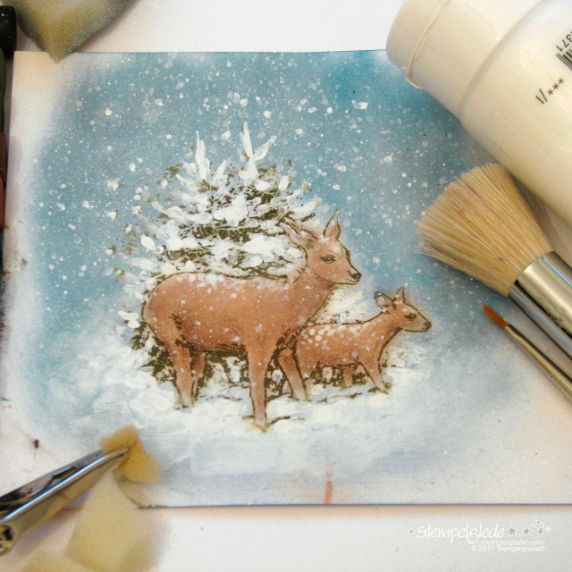 Stempelglede - Deers in winter forest - Coloring guide