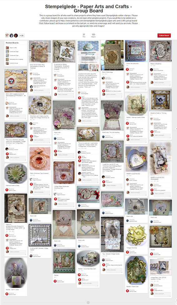 Thank you for your contributions to the Stempelglede - Paper Arts and Crafts - Group Board on Pinterest!