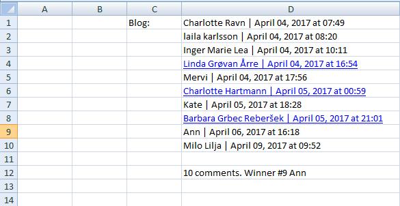 Excel-list blog comments