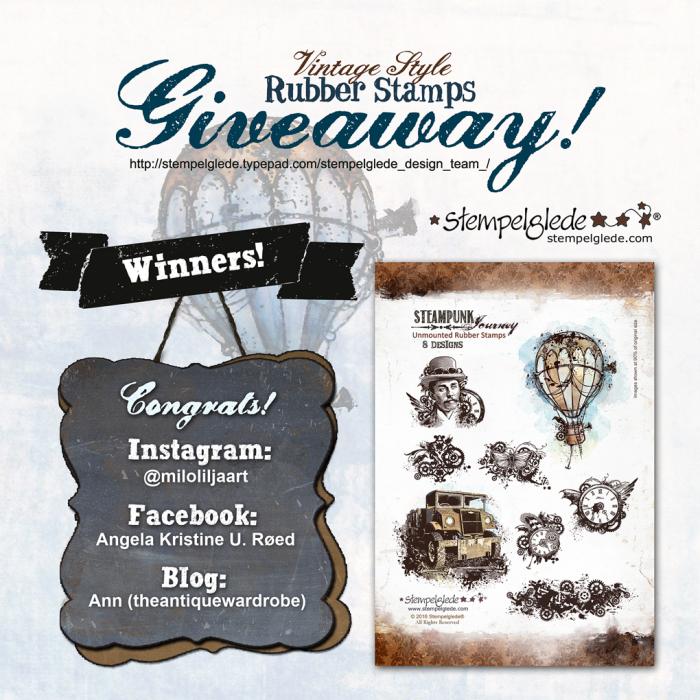 Giveaway - Steampunk Journey Winners!