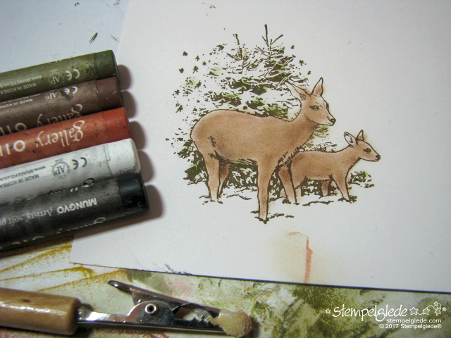 Stempelglede - Deers in winter forest - Coloring guide